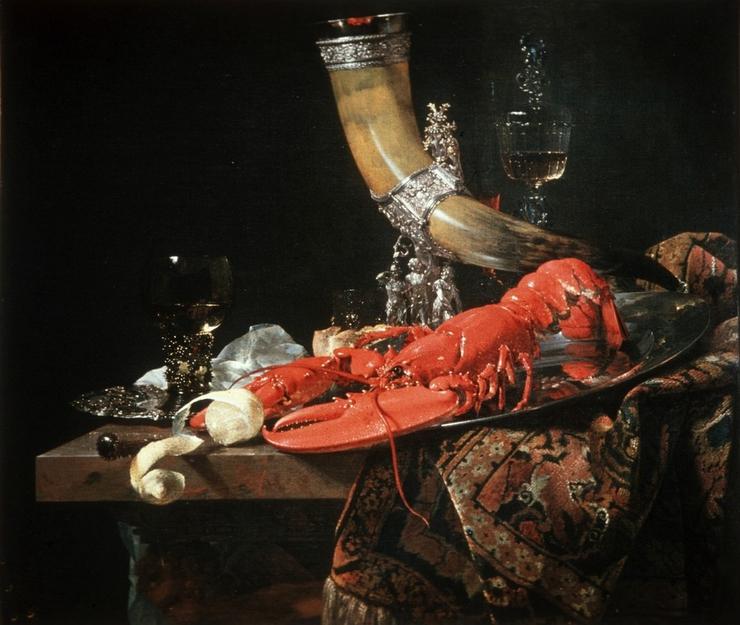 Виллем Кальф, Натюрморт с питьевым рогом, лобстером и бокалами, 1653.