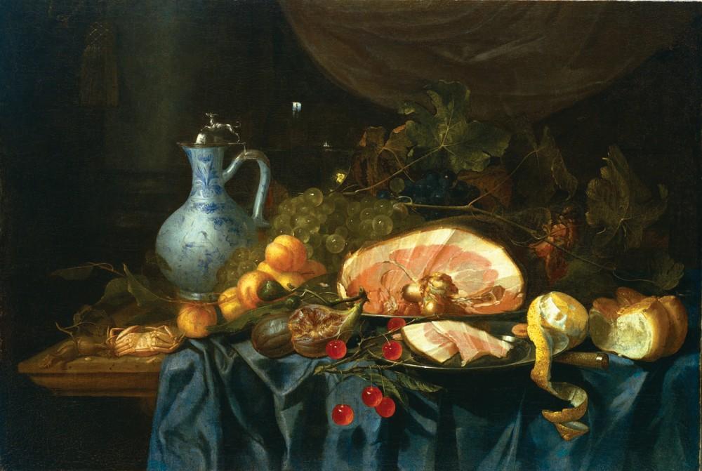 Хем Ян Давидс де, Натюрморт с окороком, кувшином и фруктами.