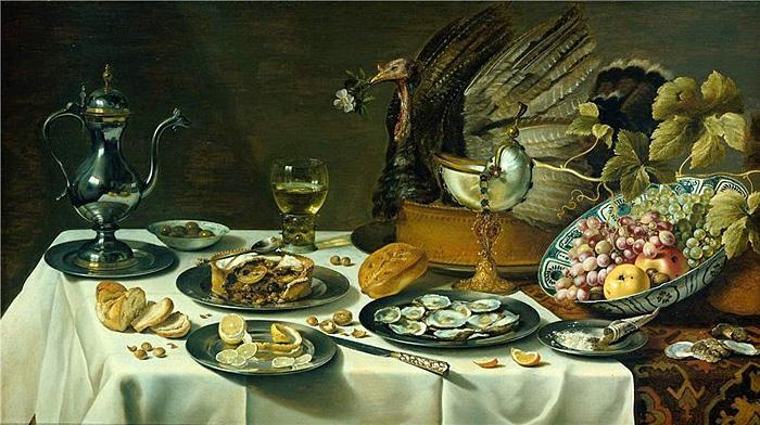 Питер Клас, Натюрморт с турецким пирогом и кубком Наутилус, 1627
