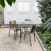 Contemporary table / galvanized steel / rectangular / outdoor