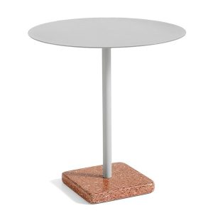 Hay-Terrazzo-Table-Round-Light-Grey-with-Red-base
